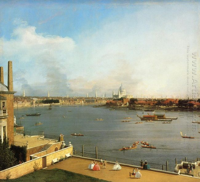 the thames and the city of london from richmond house 1746