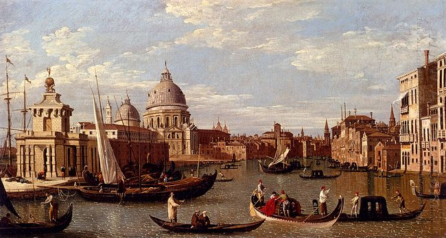 view of the grand canal and santa maria della salute with boats