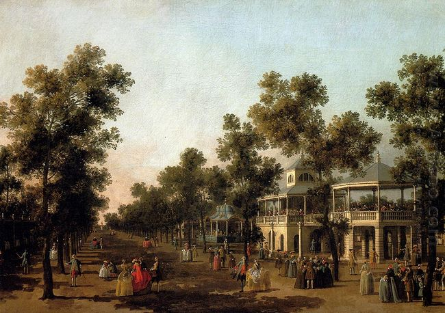 view of the grand walk vauxhall gardens with the orchestra pavil