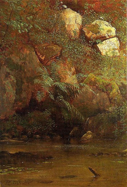 ferns and rocks on an embankment 1869