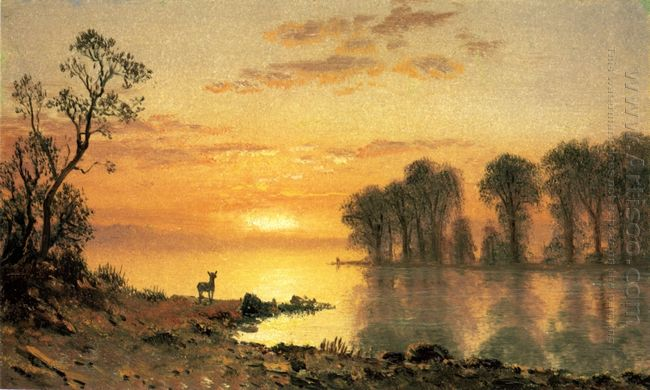 sunset deer and river