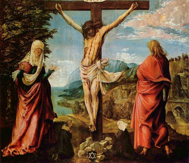crucifixion scene christ on the cross with mary and john 1516
