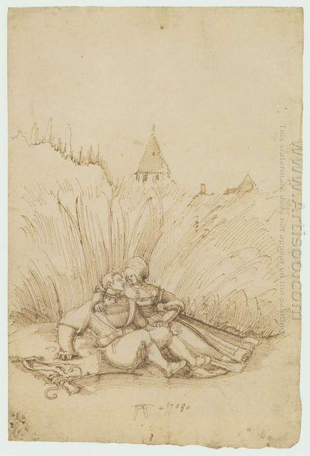 lovers in a hay field 1508