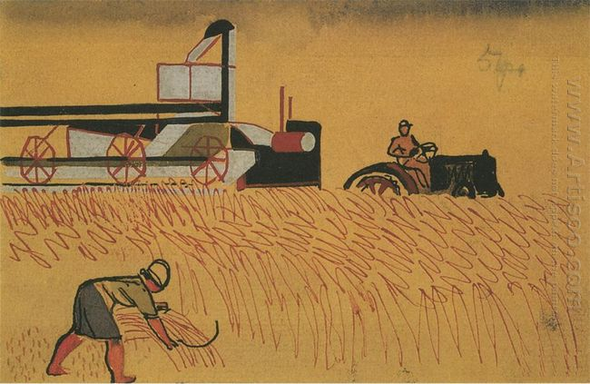 cleaning the field with a sickle and the combine fig for childre