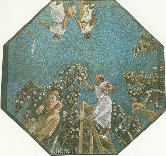 mosaic art metro novokuznetskaya 2 picking apples 1943