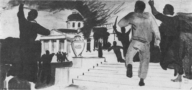 peasant revolt esk painting act hall building narkomzem 1934