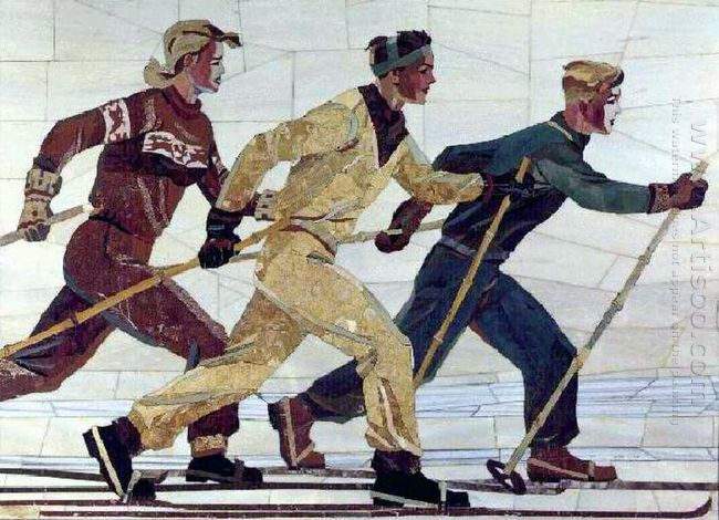 skiers florentine mosaic 1950