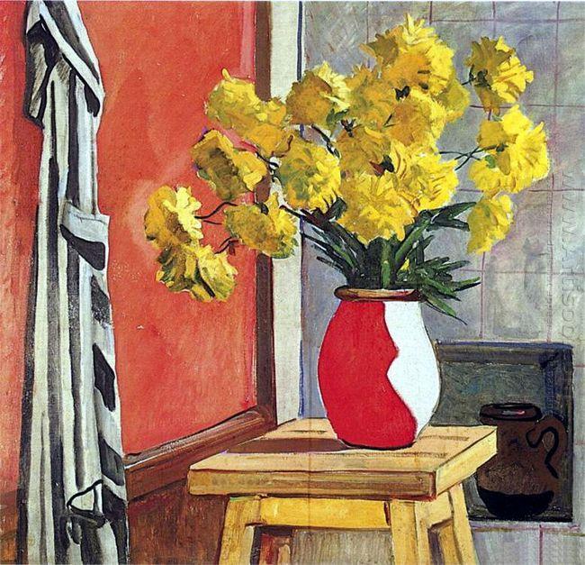still life yellow flowers 1954