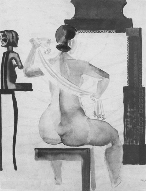 the model in front of a mirror 1928