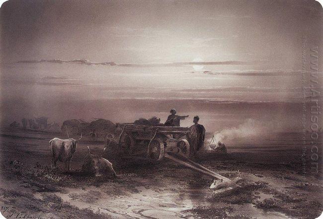 bivouac in the desert convoy chumakov 1867 1
