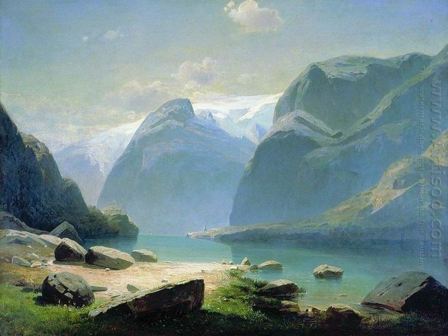 lake in the swiss mountains 1866