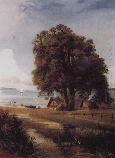 landscape with a farm near lake