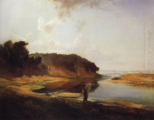 landscape with a river and an angler 1859