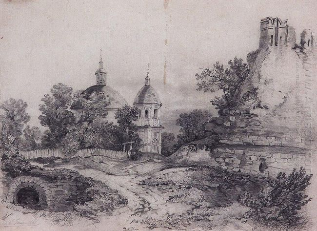landscape with church and the ruins 1861