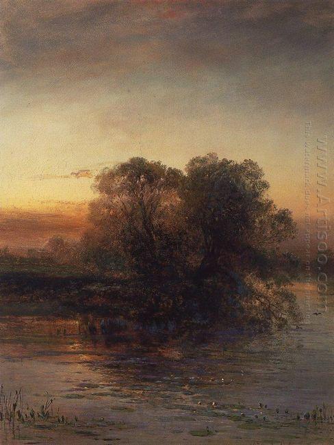 pond at dusk 1879
