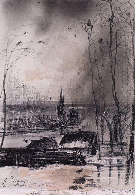 rooks arrived landscape with church 1894