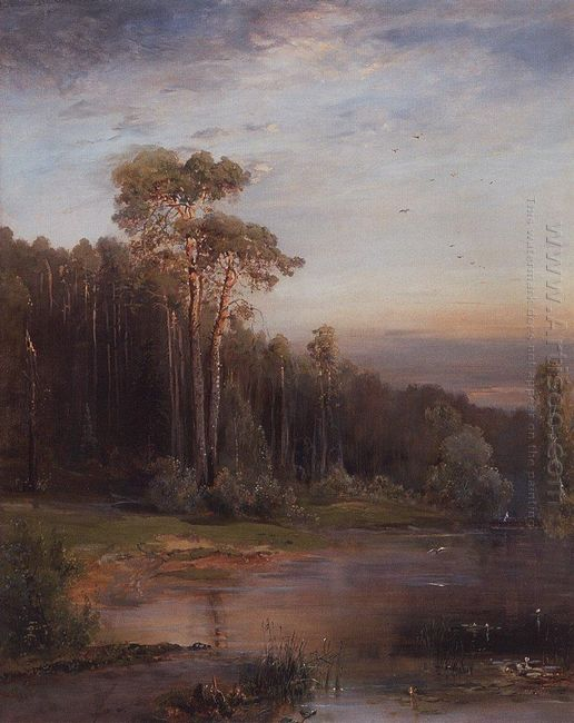 summer landscape with pine trees near the river 1878