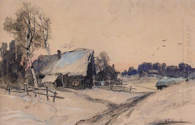 the village in winter 1890