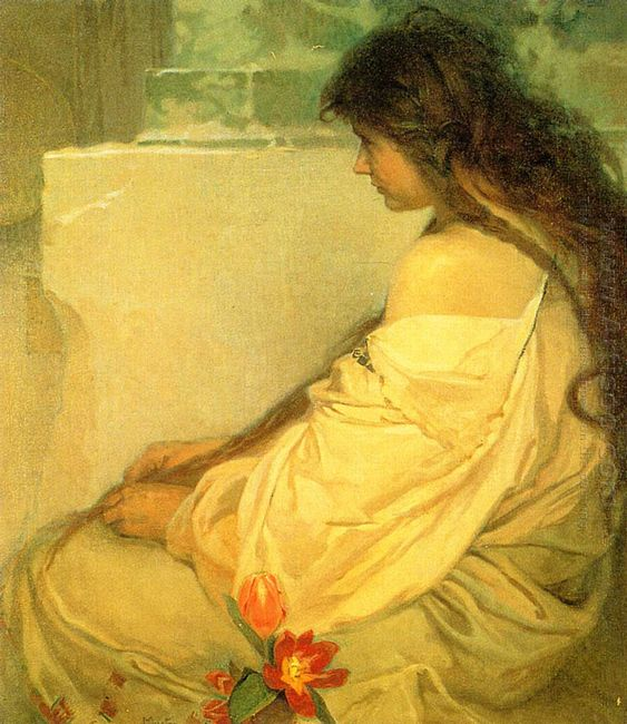 girl with loose hair and tulips 1920