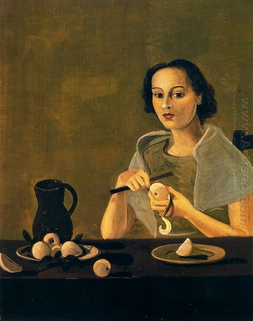 the girl cutting apple 1938