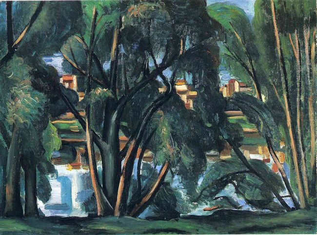 trees on the banks of the seine 1913