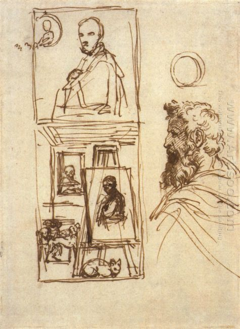 preparatory drawing for self portrait on an easel in a workshop