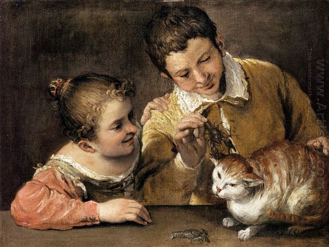 two children teasing a cat 1590
