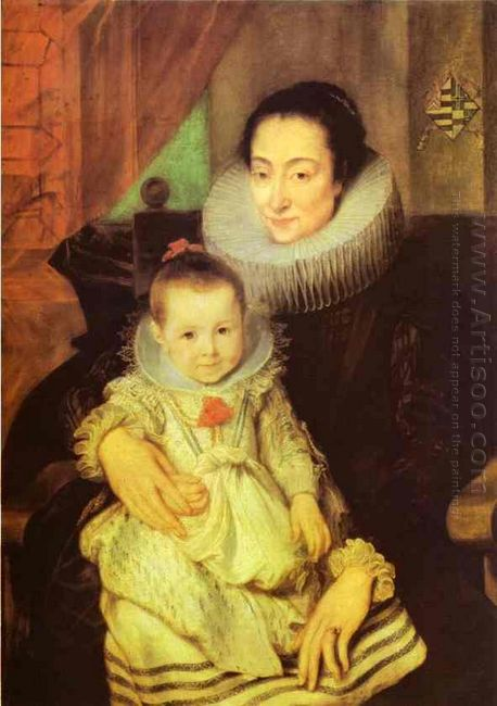 marie clarisse wife of jan woverius with their child