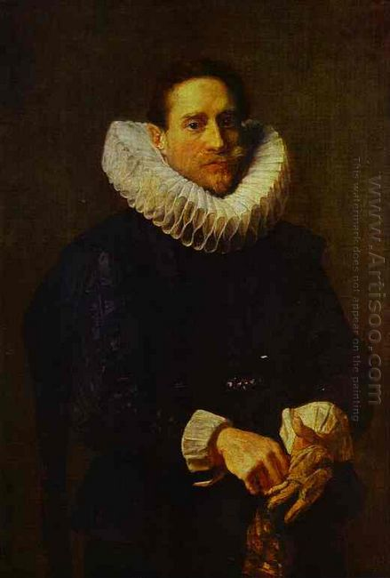 portrait of a gentleman putting on his gloves