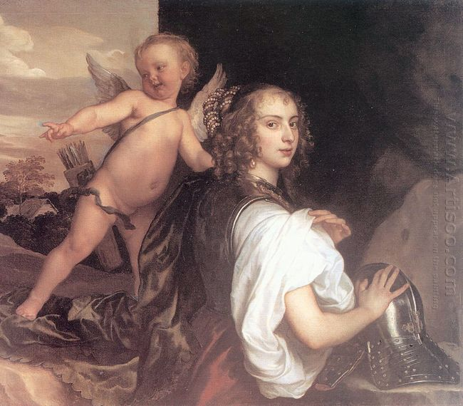 portrait of a girl as erminia accompanied by cupid 1638