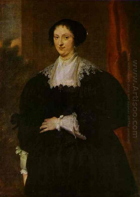 portrait of a lady dressed in black before a red curtain