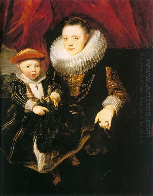 young woman with a child 1618
