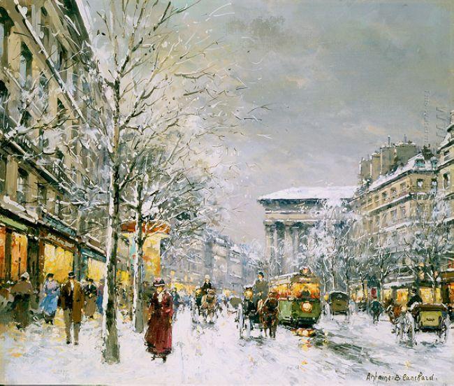 boulevard de la madeleine sous la neige