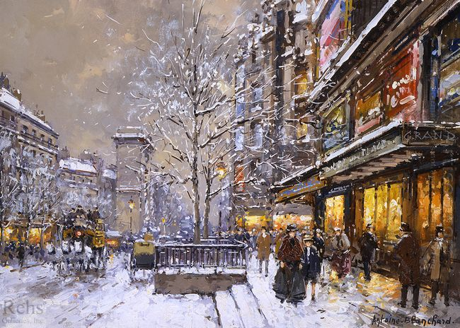 grands boulevard et porte st denis sous la neige