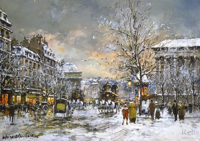 omnibus on the place de la madeleine winter