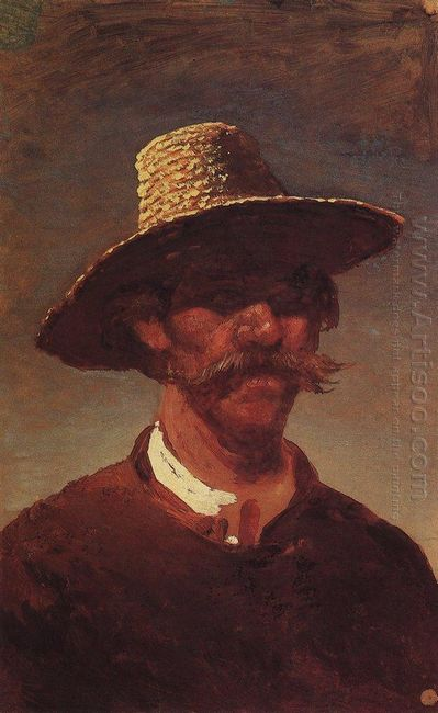 the head of a ukrainian peasant in a straw hat