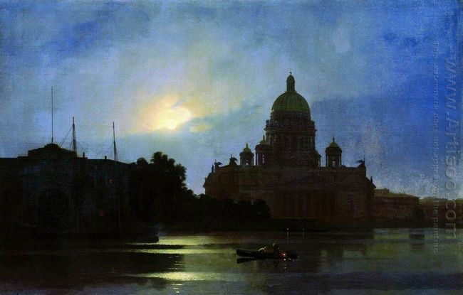 view of the isaac cathedral at moonlight night 1869