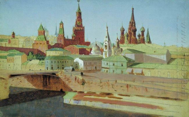 view of the moskvoretsky bridge the kremlin and the pokrovsky ca