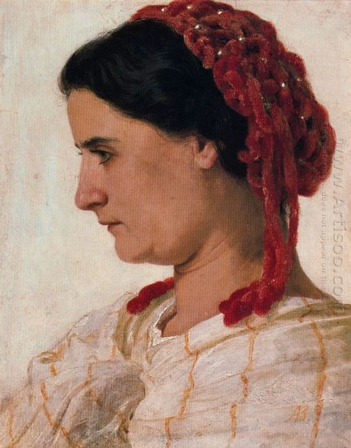 portrait of angela b cklin in red fishnet
