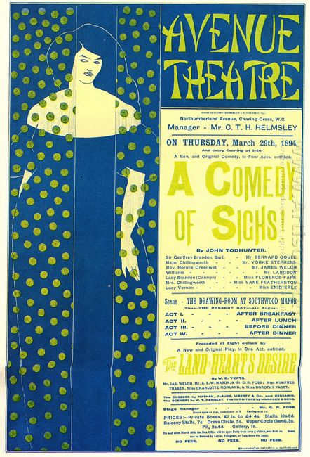 poster advertising a comedy of sighs a play by john todhunter 18