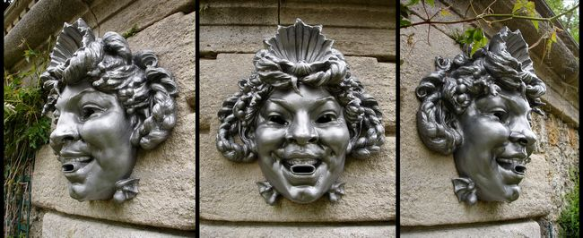three views of a mask
