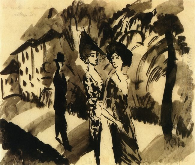 two women and a man on an avenue