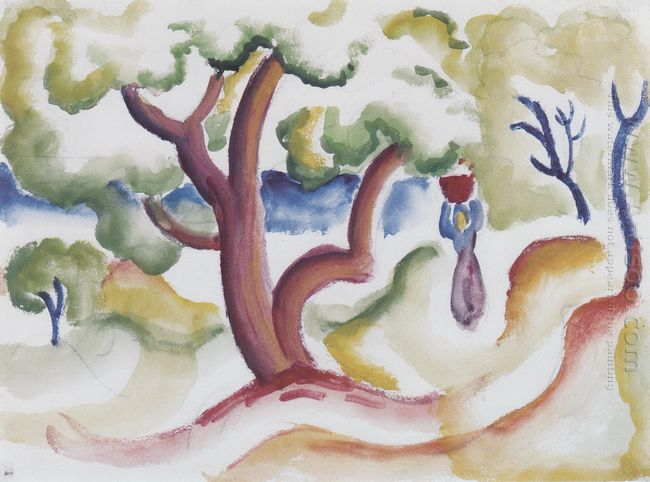 woman with pitcher under trees