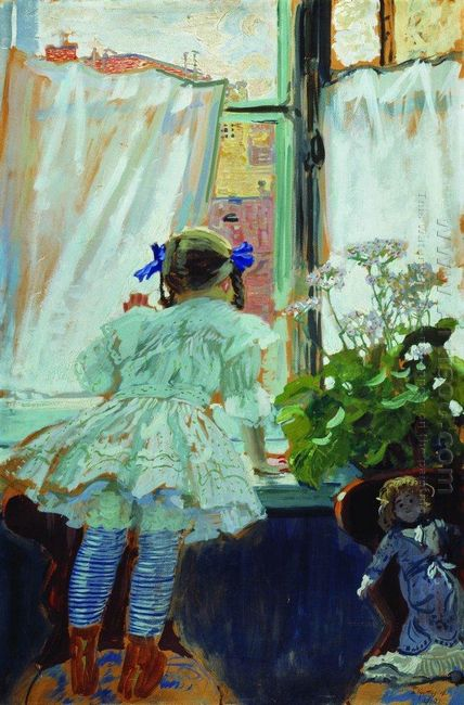 At The Window Portrait Of I B Kustodieva 1910