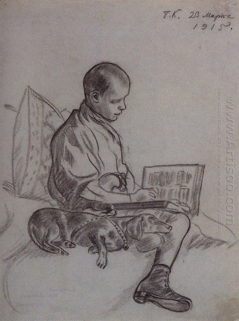 Boy With Dog Portrait Of Cyril Kustodiev Son Of The Artist 1915