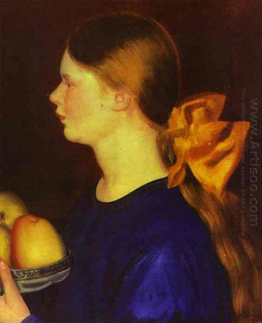 Girl With Apples Portrait Of Irina Kustodiyeva