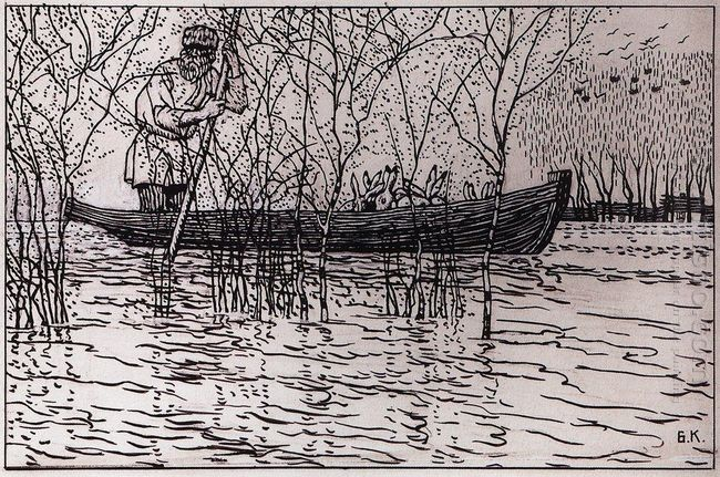 Illustration For Nikolay Nekrasov Poem Grandfather Mazay And The