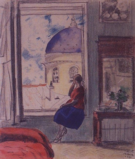 Interior The Female Figure At The Window In Studio 1920