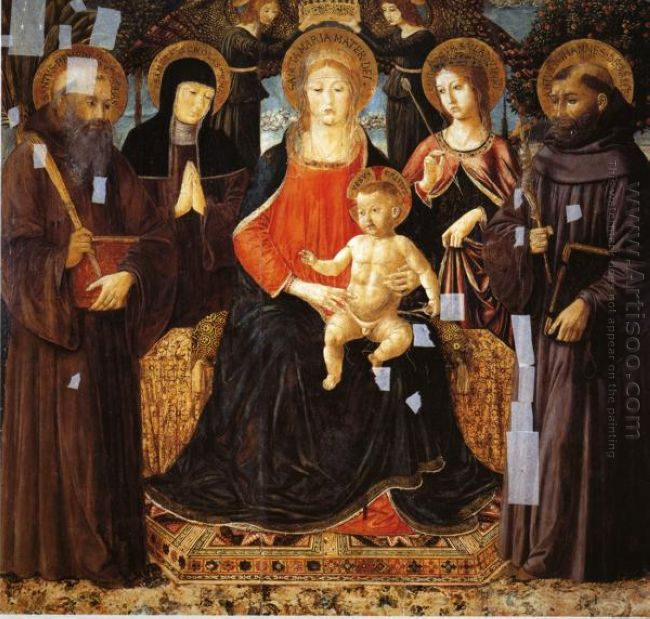 Madonna And Child Enthroned Among St Benedict St Scholastica St