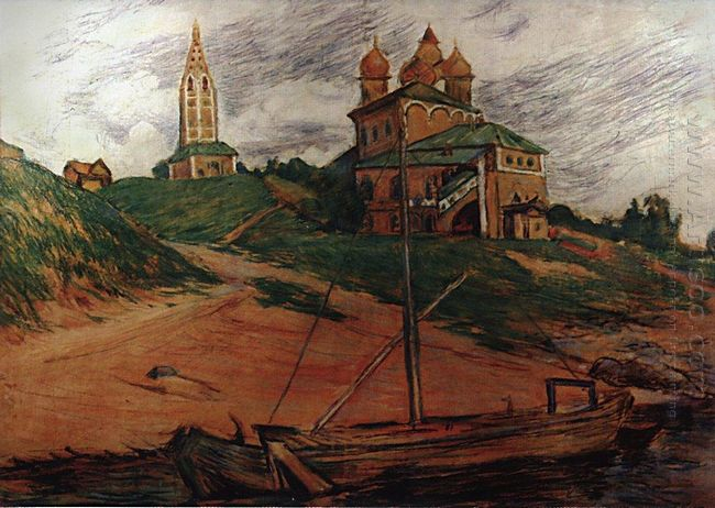 On The Volga Landscape With Church Of The Kazan
